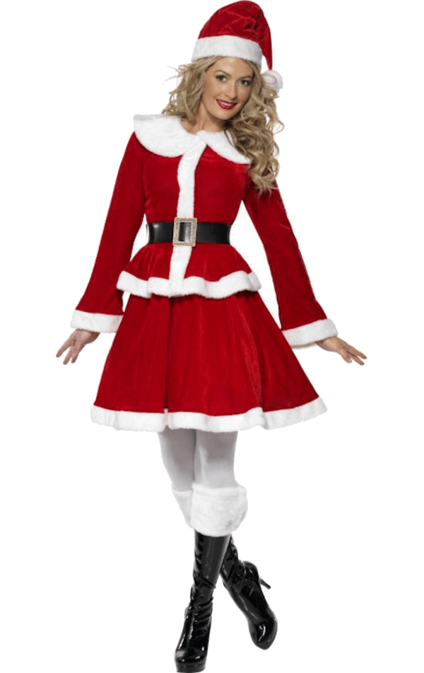 K117 Santa Mrs Claus Christmas Fancy Dress Up Costume Xmas Party Outfit /& Hat