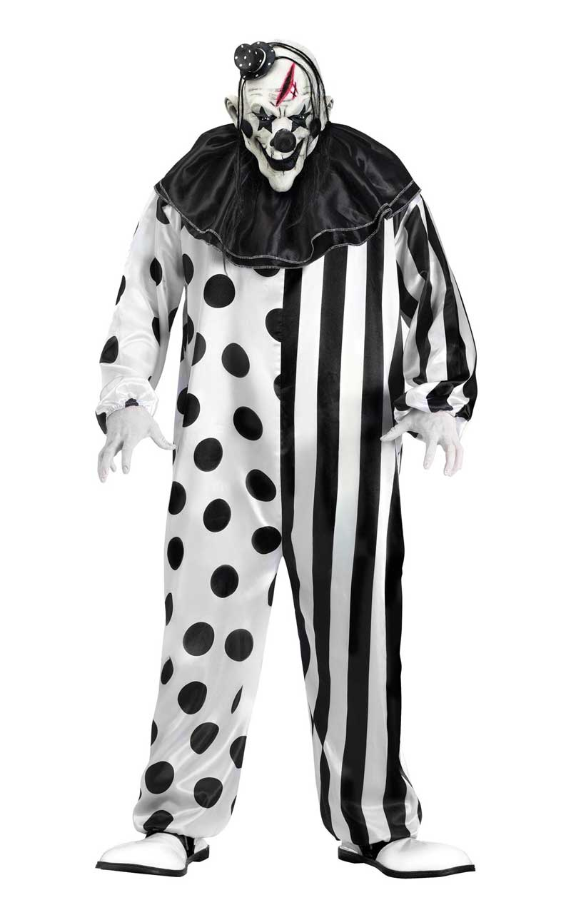 Monochrome Killer Clown Costume - Fancydress.com