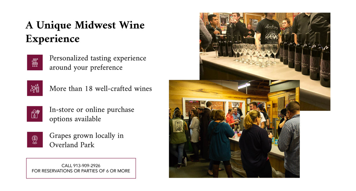 "Image reads, ""A Unique Midwest Wine Experience. Personalized tasting experience around your preference, more than 18 well-crafted wines, in-store or online purchase options available, grapes grown locally in Overland Park."""