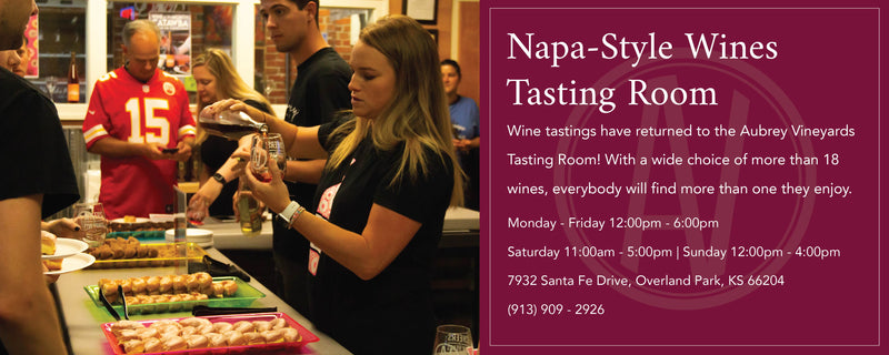 "An AV staff member pouring wine tastings for a crowd in the AV tasting room. The information to the right of the image reads, ""Wine tastings have returned to the AV Tasting Room! Mon-Fri 12pm-6pm, Sat 11am-5pm, Sun 12pm-4pm."
