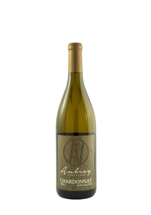 A bottle of Aubrey Vineyards 2014 Chardonnay on a white background.