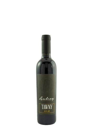 A bottle of Aubrey Vineyards 2015 Tawny on a white background.