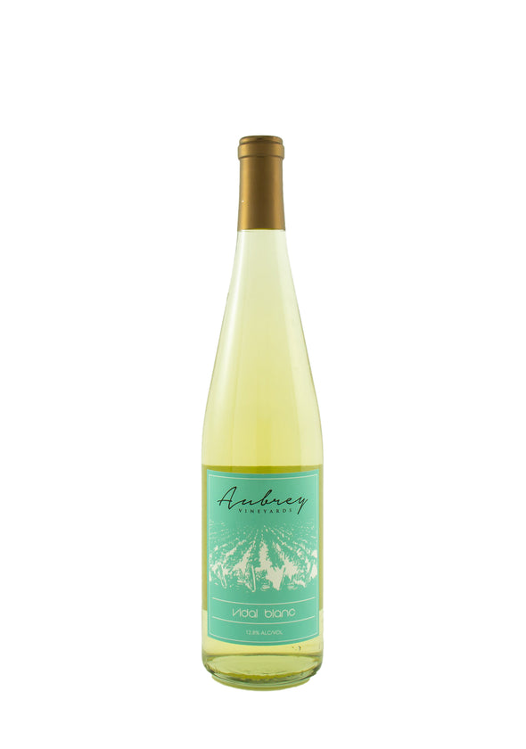 A bottle of Aubrey Vineyards 2015 Vidal Blanc on a white background.