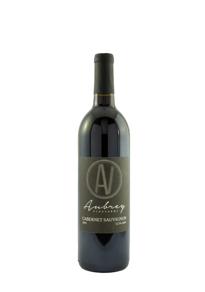A bottle of Aubrey Vineyards 2016 Cabernet Sauvignon on a white background.