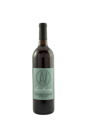 A bottle of Aubrey Vineyards 2019 Chambourcin Semi-Dry on a white background.