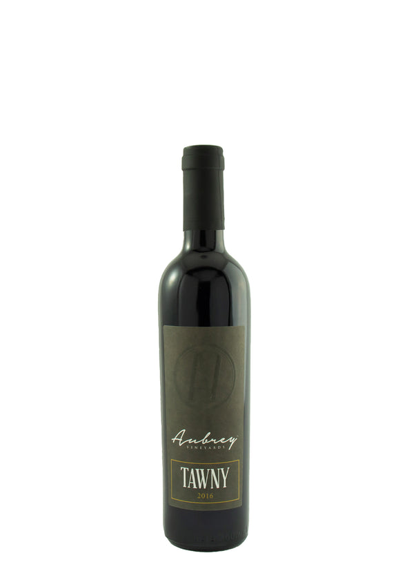 A bottle of Aubrey Vineyards 2016 Tawny on a white background.