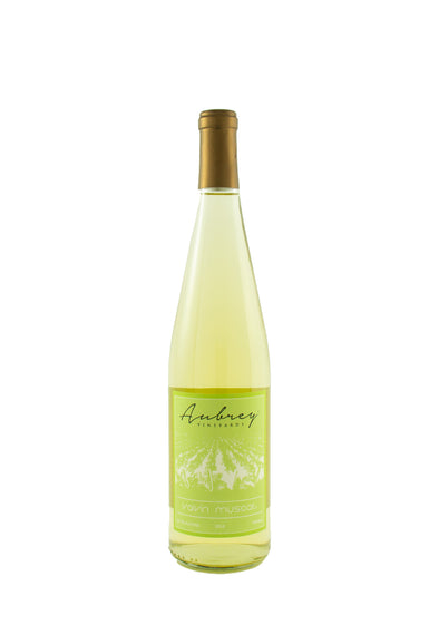 A bottle of Aubrey Vineyards 2016 Valvin Muscat on a white background.'