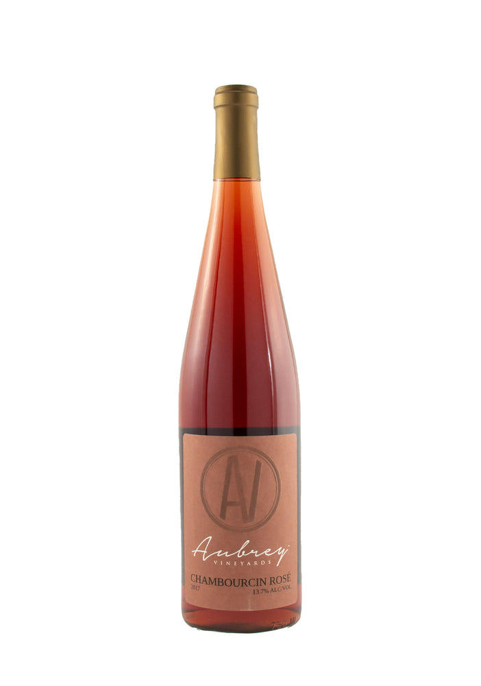 A bottle of Aubrey Vineyards 2017 Chambourcin Rosé on a white background.