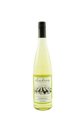 A bottle of Aubrey Vineyards 2017 Moscato sitting on a white background.