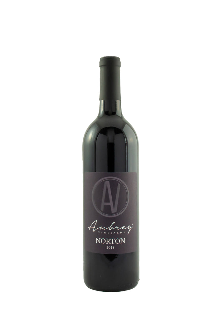 A bottle of Aubrey Vineyards 2018 Norton on a white background.