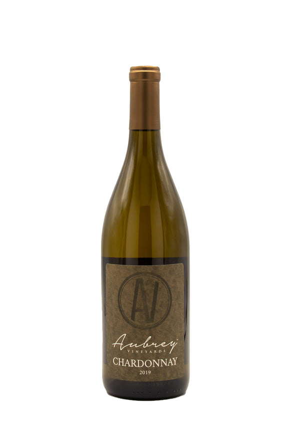A bottle of Aubrey Vineyards 2019 Chardonnay on a white background.