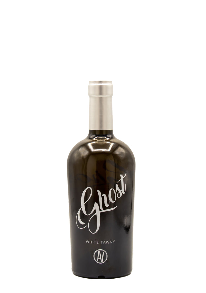 A bottle of 2019 Ghost White Tawny on a white background.