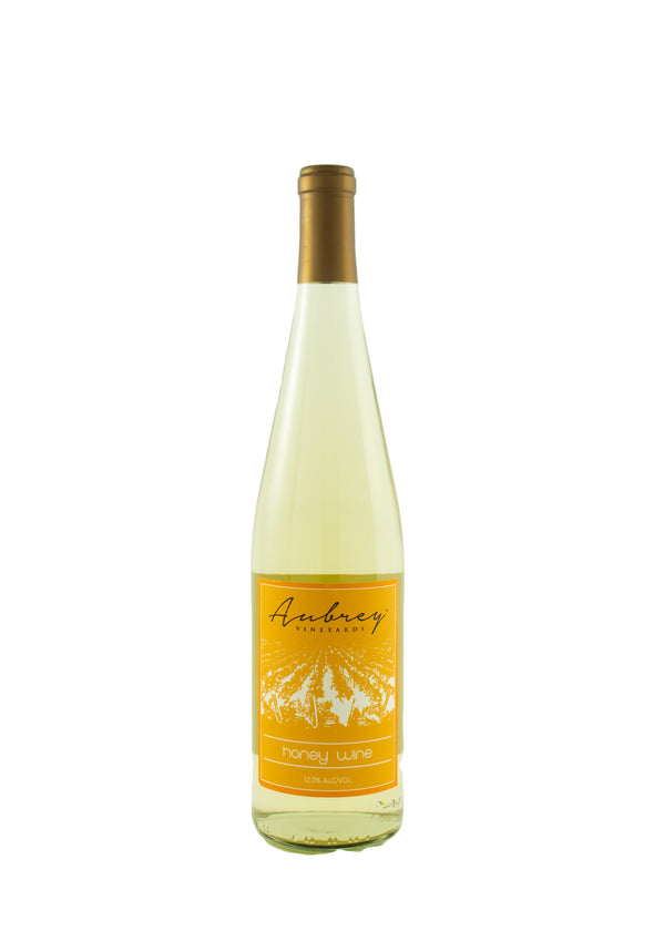 A bottle of Aubrey Vineyards 2019 Honey Wine on a white background.