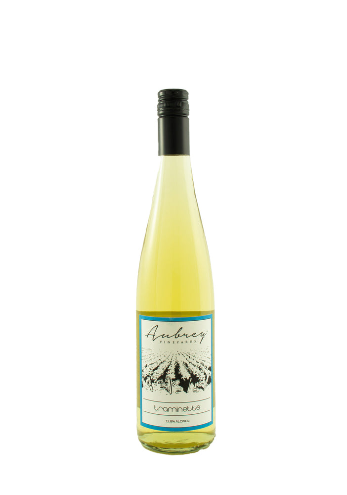 A bottle of Aubrey Vineyards 2019 spritzed Traminette on a white background.