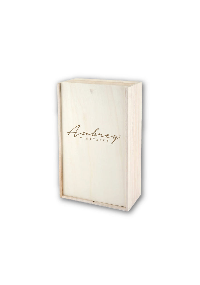Wooden Wine Box with Aubrey Vineyards Logo. Available in sizes of Single, Double or Triple Bottle sizes.