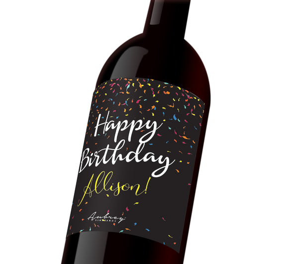 "A black customizable wine label with colorful confetti that reads, ""Happy Birthday Allison!"""