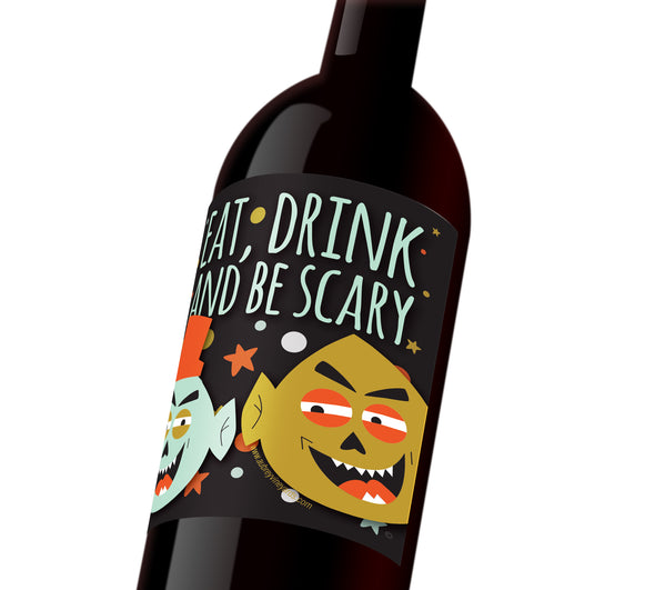 "A Halloween wine labels depicting two cartoon-like monster faces that reads, ""Eat, drink, and be scary."""