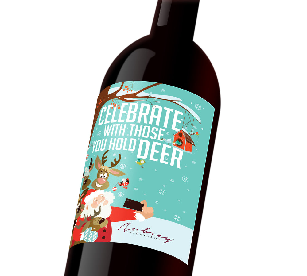 A blue comical holiday custom label depicting Santa taking a selfie with his reindeer. The label reads,