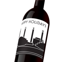 "A black and white holiday custom label with Kansas City's skyline that reads, ""Happy Holidays"""