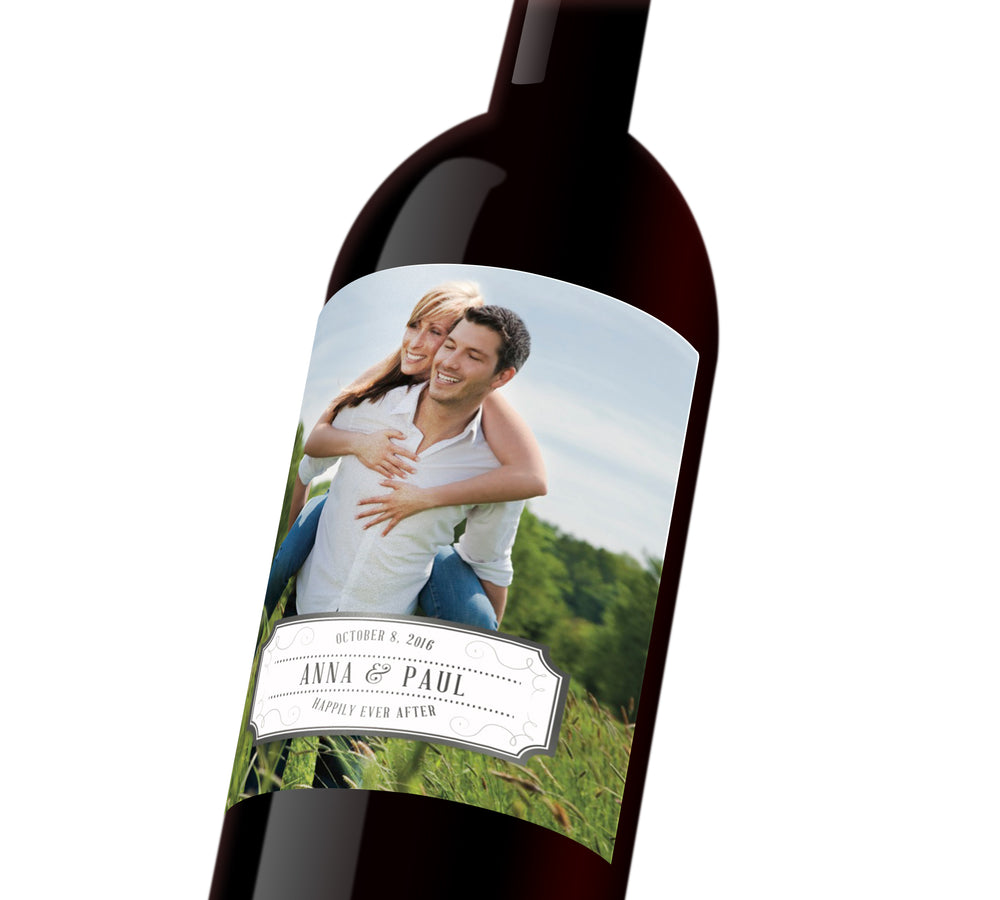 A customizable wine label depicting a couple together. The label reads,