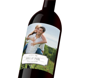 "A customizable wine label depicting a couple together. The label reads, ""Anna & Paul Happily Ever After"""