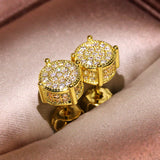 925 Silver Zircon Stone Round Stud Earrings Hip Hops Crystal Earring