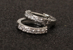 Solid 925 Sterling Silver White Paved Crystal Hoop Earrings For Women