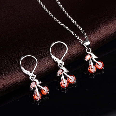 925 Solid Silver Cherry Earrings Necklace With CZ Ruby