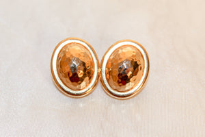 gold oval clip on earrings