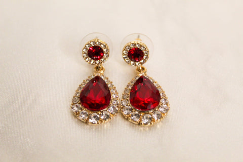ruby drop earrings red with silver crystals