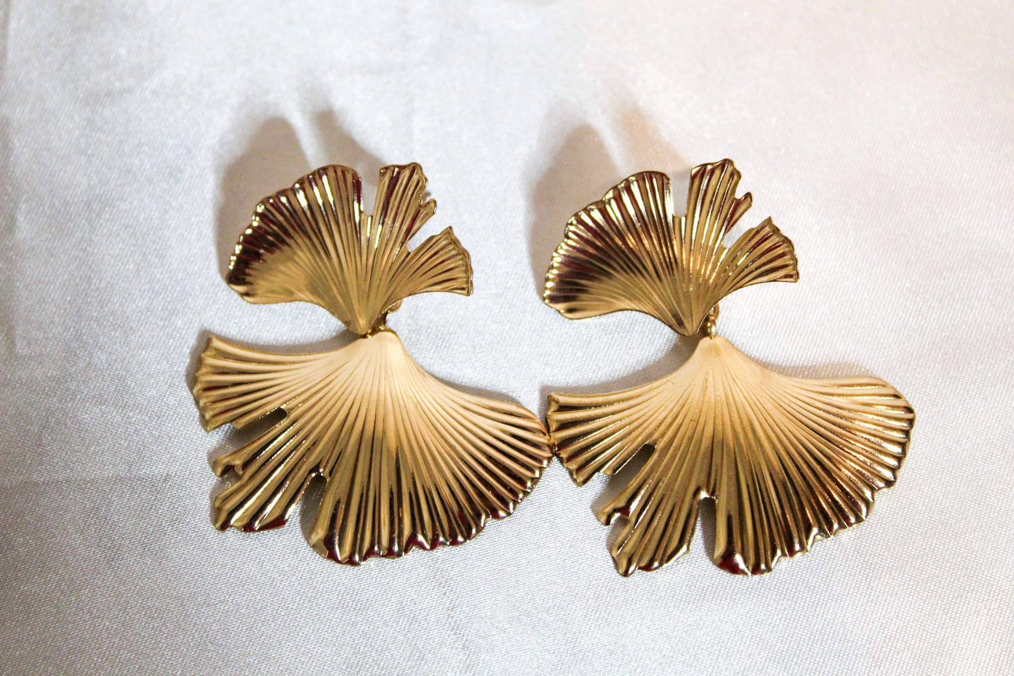 art deco gold earring fan shape