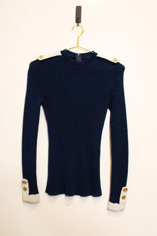 Navy Blue nautical sweater vintage gold buttons white