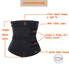 Load image into Gallery viewer, 7 Steel Boned Zipper Front plus size slimming belt women Latex Waist Trainer