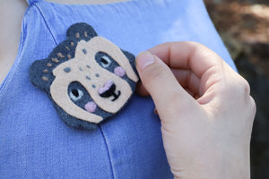Felted Spectacled Bear- Pin, Magnet, or Badge Reel!