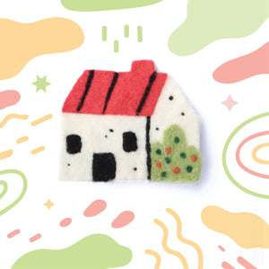 Felted Casita - Pin, Magnet, or Badge Reel!