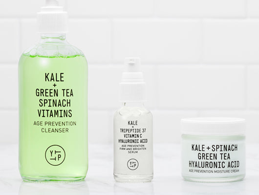 Age Prevention Cleanser, Age Prevention Serum, and Age Prevention Moisture Cream mad with Kale, Green Tea, Spinach, Vitamins, Tripeptide 37, Vitamin C, and Hyaluronic Acid.