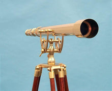 "Load image into Gallery viewer, Telescopes - Stanley London Premium 44"" Brass Harbormaster Telescope W/ Arc Mount"