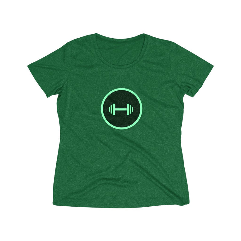 Green dumbbell Women's Heather Wicking Tee