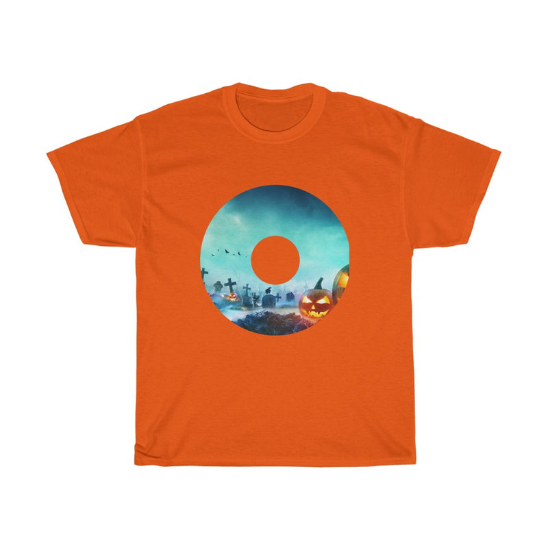 Halloween Design with Scary Pumpkins Scenery  Tshirts - Unisex Heavy Cotton Tee