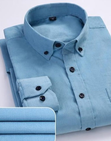 Shirt - Corduroy long sleeved button collar smart casual shirts