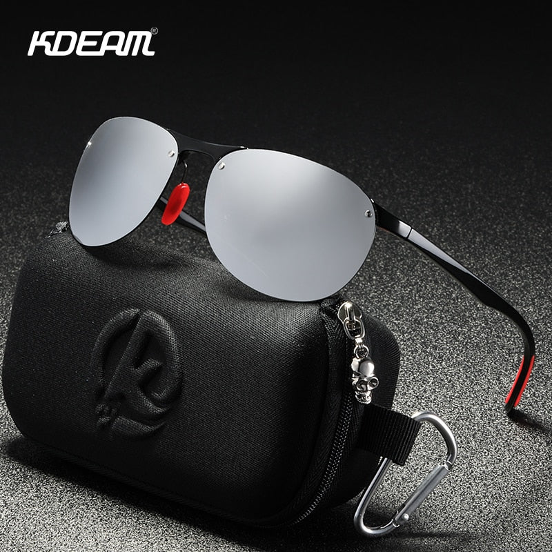 Sunglasses - KDEAM Rimless Oval Men's Sunglasses Polarized