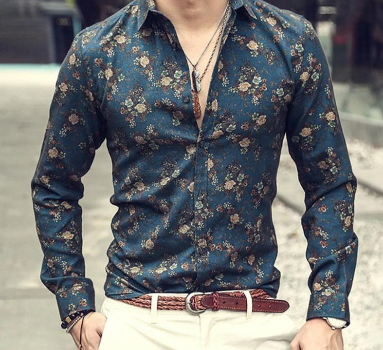 Shirt - Men's Silk Satin Floral Printed Shirts