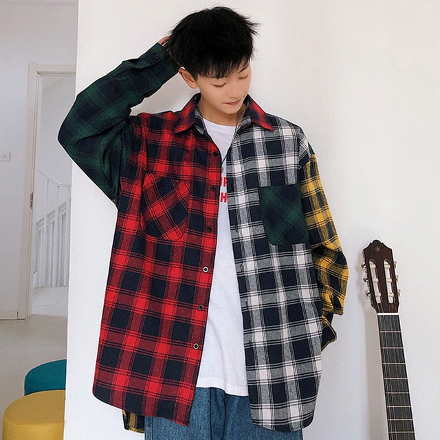Shirt - Cotton Plaid Shirt Hip Hop Patchwork Button Up Long Sleeve