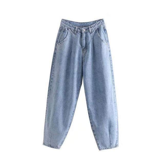 Jeans - Streetwear Pleated Mom Jeans High Waist Loose Slouchy Jeans
