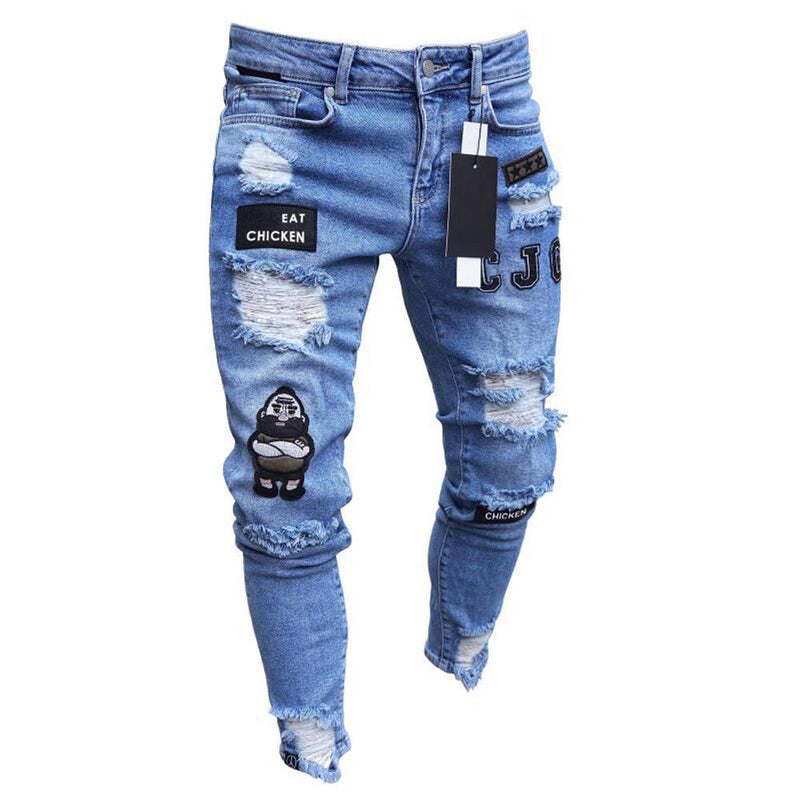 Jeans - Men Stretchy Ripped Skinny Biker Embroidery Print Jeans