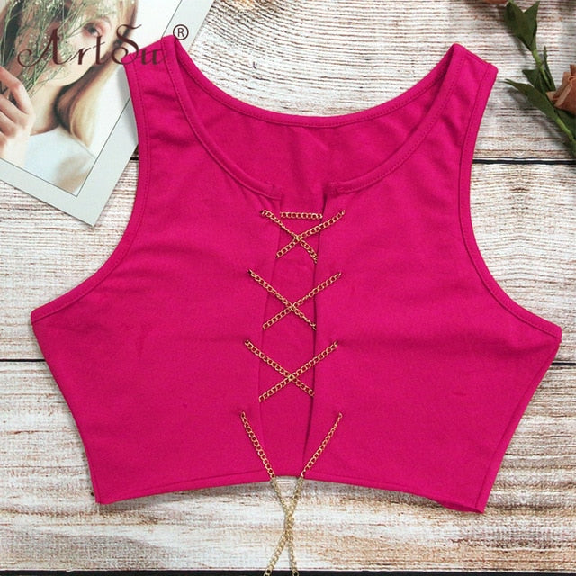 Tank Top - Red Black White Metal Chain Sleeveless Crop Top