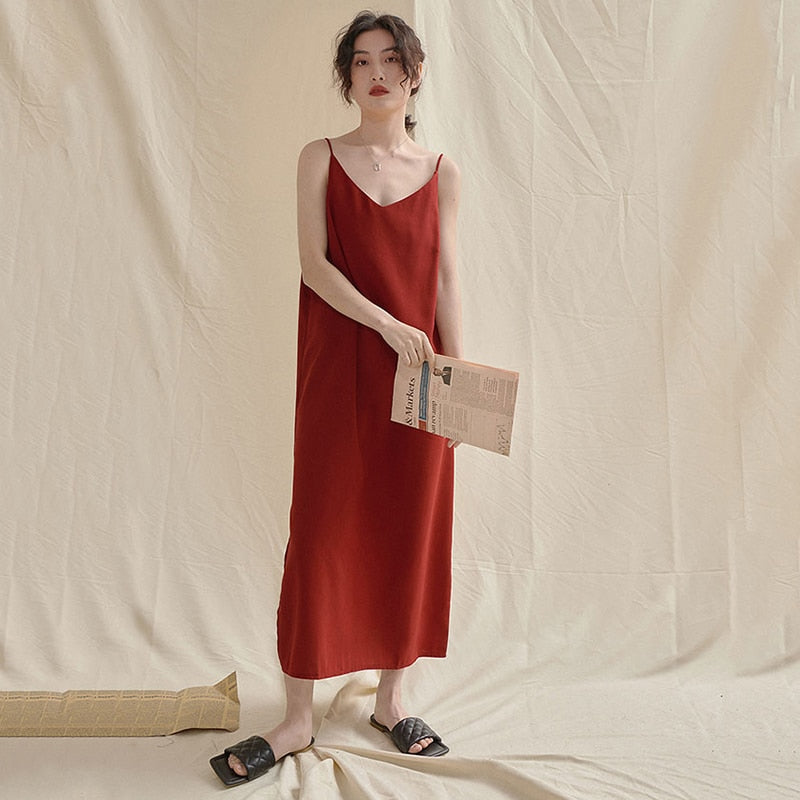 Dresses - Red Brief Temperament Spaghetti Strap Dress