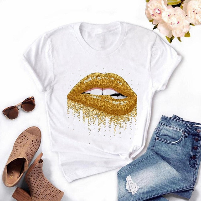 Tee - Women Red Mouth Lip Kiss Printed Girl  Tshirt