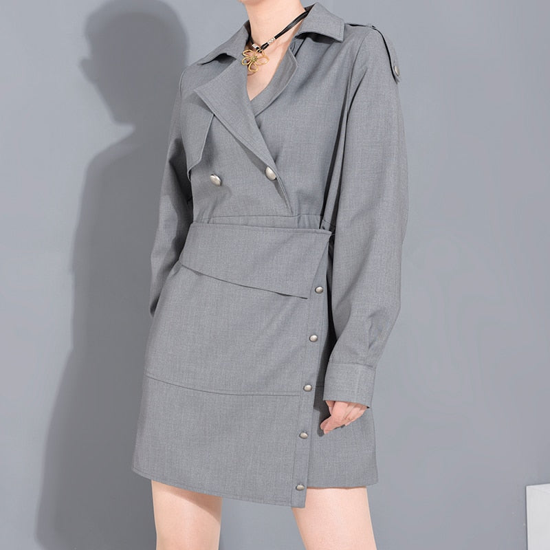 Dresses - Gray Brief Button Split Irregular Dress