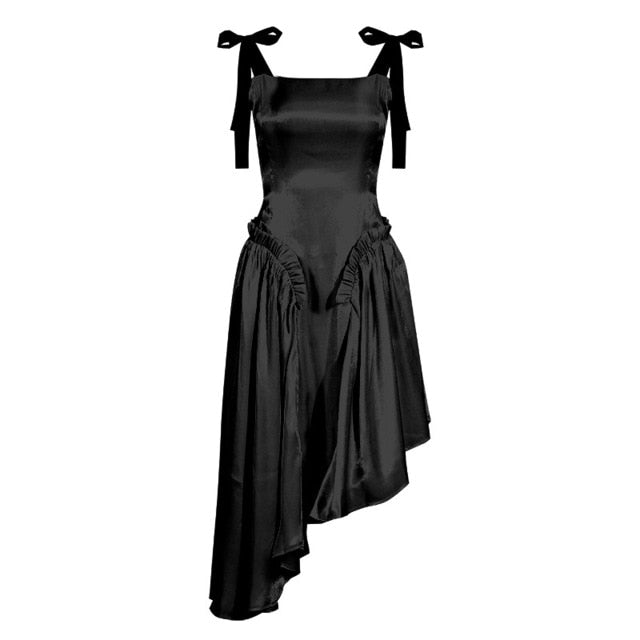 Dresses - Backless Pleated Spaghetti Strap Dress